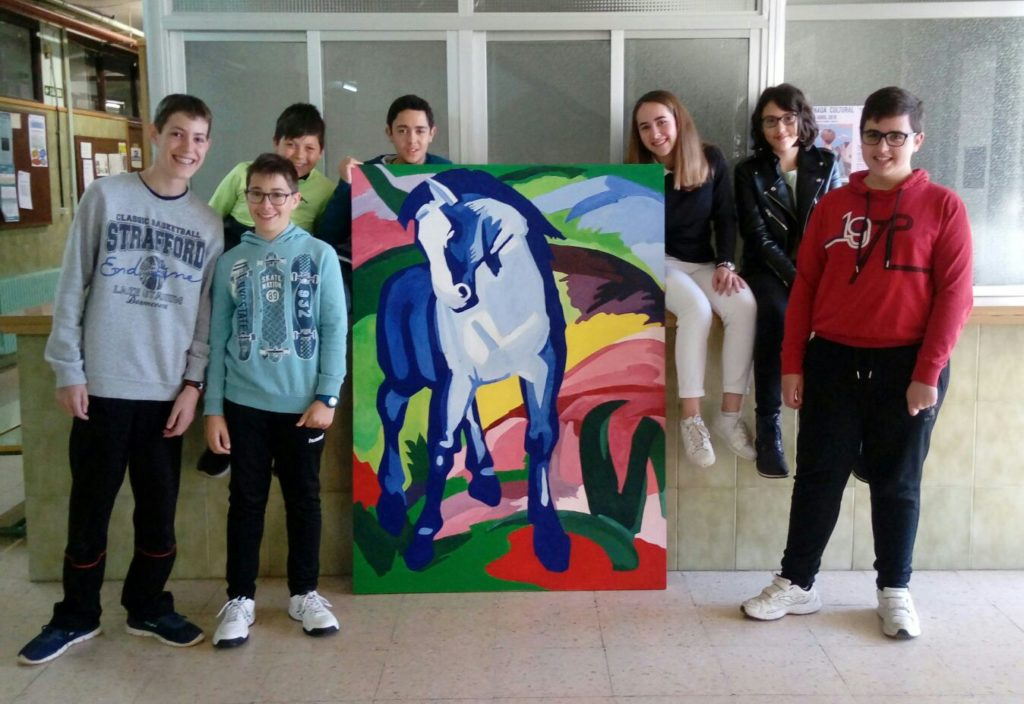 Caballo azul de Franz Marc con alumnos ESO